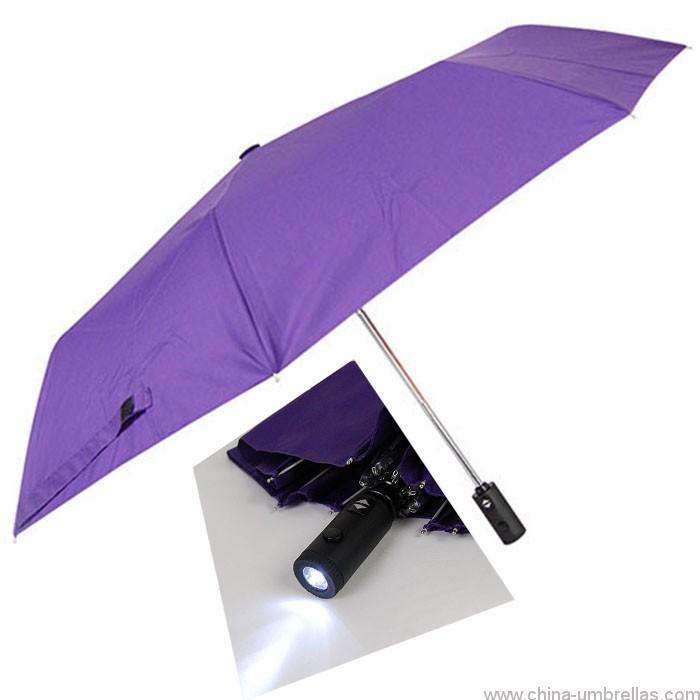 4111a03da6a8 21 inch auto open 8 ribs new invention flexible 3 folding umbrella led  flashing light handles