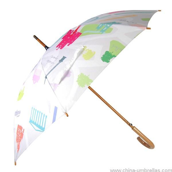 e6e5ee1bc5acb Advertising sun protection wooden straight umbrella parts handle ...